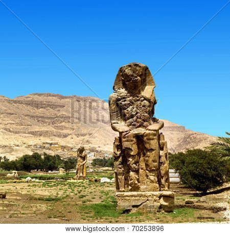 colossi of memnon gigantic statues in Luxor Egypt