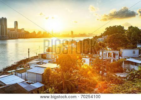 Sunset in Hong Kong fishing valley, Lei Yue Mun