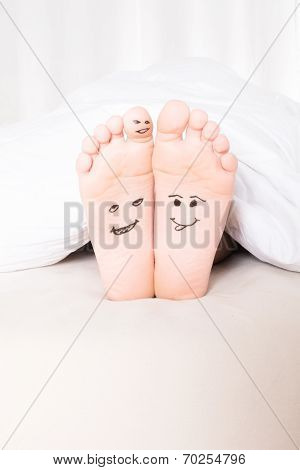 Bare Feet With Smiley Faces