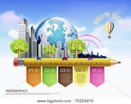 Creative Ecology Concept Template With Pencil Flow Chart Infographic