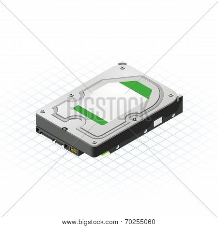 Isometric Hard Disk Vector Illustration