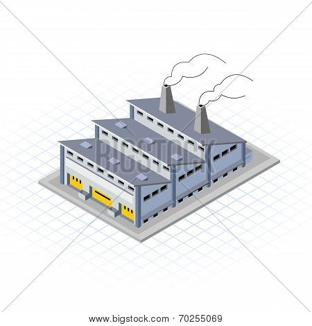 Isometric Factory Building Vector Illustration