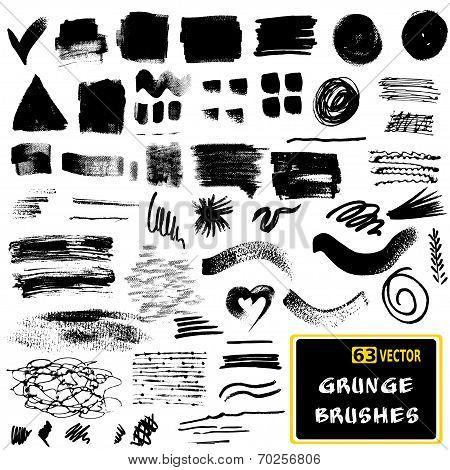 Vector set of grunge brush strokes.  Monochrome