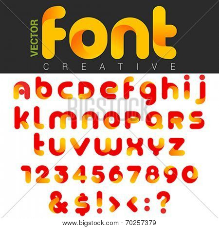 Font design vector rounded funny cartoon. Can be used as Logos. Letters and Numbers and other Characters & Symbols included.