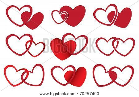 Red Hearts Vector Design For Love Theme