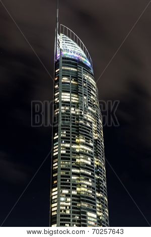 Gold Coast Q1 tower by night