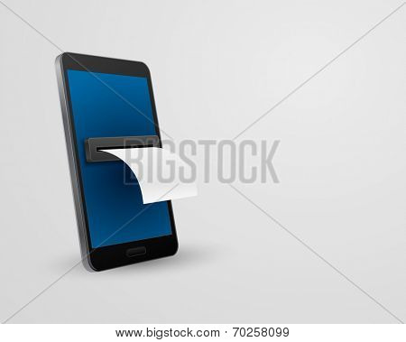 smartphone with bill check concept 3d