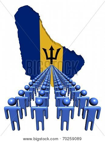 Lines of people with Barbados map flag illustration