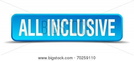 All Inclusive Blue 3D Realistic Square Isolated Button
