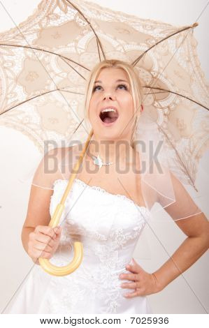 beautiful bride with lace umbrella
