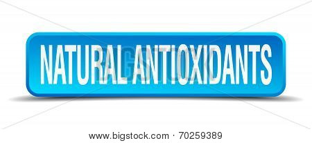 Natural Antioxidants Blue 3D Realistic Square Isolated Button