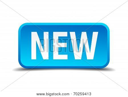 New Blue 3D Realistic Square Isolated Button