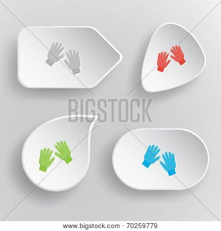 Gauntlets. White flat vector buttons on gray background.