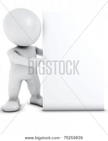 3D Render of Morph Man with blank sign