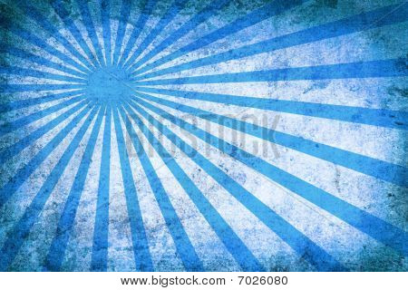 Blue Vintage Grunge Background With Sun Rays