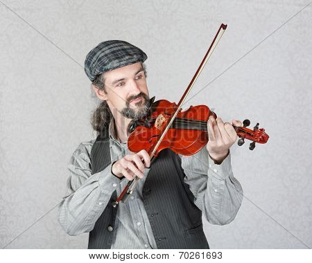 Handsome Irish Fiddler Performing