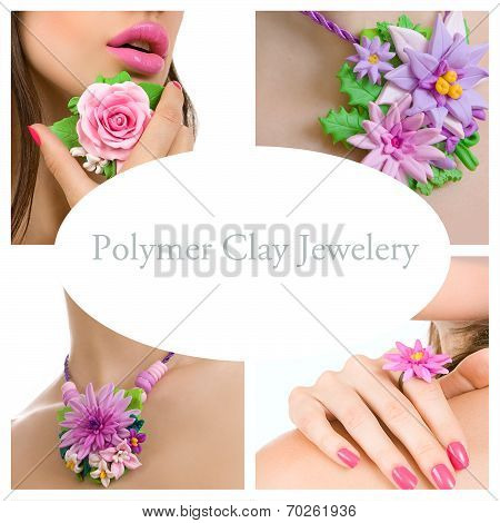 Collage Of A Polymer Clay Jewelery: Floral Jewelery Made Of Polymer Clay