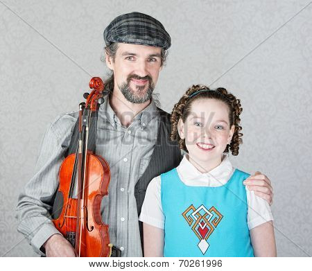 Celtic Folk Musician With Daughter