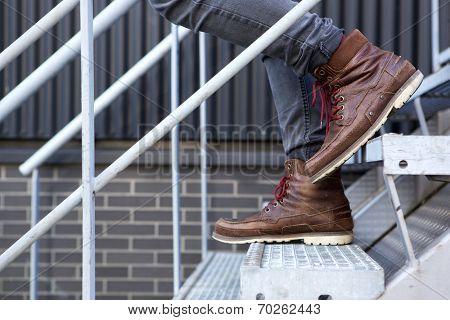 Male Walking Downstairs