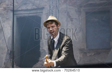 BONTIDA - JUNE 19: The London based Dub Pistols band performs live at Electric Castle Festival at June 19, 2014 in the Banffy castle in Bontida, Romania.