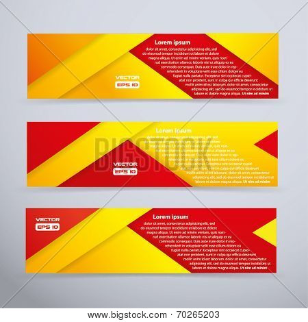 Red and yellows banner set - vector illustration