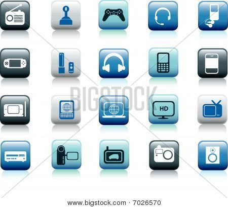 Electronic Icon Square Blue Buttons