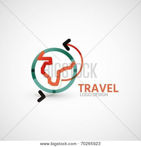 Vector travel company logo design - Earth globe and panes-arrows, business symbol concept, minimal line design