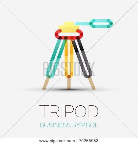 Vector tripod icon company logo design, business symbol concept, minimal line design