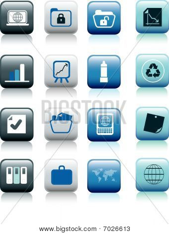 Office Icons Blue Buttons