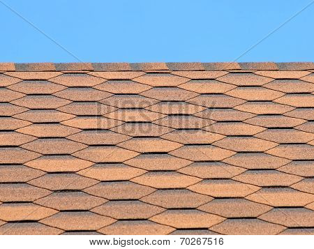 Bituminous Tiles Roof Taken Closeup.
