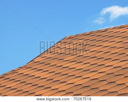 Roof Of Bituminous Tiles Taken Closeup.