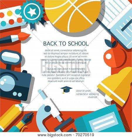 Vector school flat design flyer template