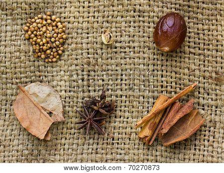 Star Anise, Cloves, Cinnamon Sticks, Nutmeg And Mace Spice On Sack  Background.