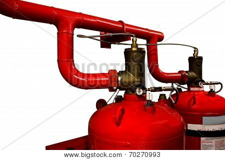 System Of A Gas Fire Extinguishing Isolated Background