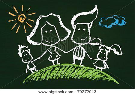 Illustration of chalked happy family