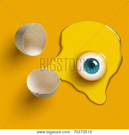cracked raw egg with eye