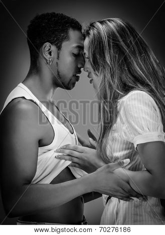 Monochrome portrait of a passionate couple