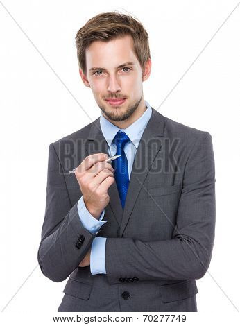 Caucasian businessman hold with pen