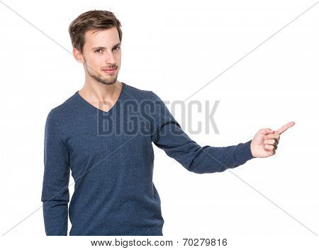 European man with finger point aside