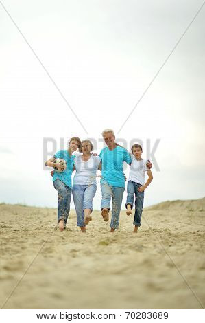 Grandparents with grandchildren on the beach
