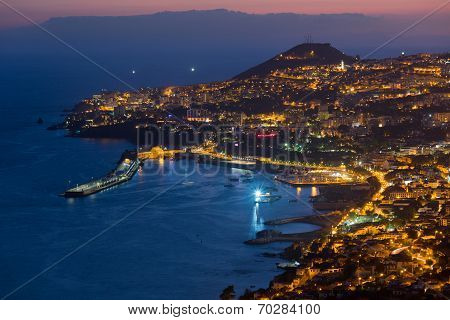 Aerial View Of Funchal By Night, Madeira Island