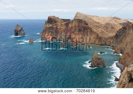 Coastline Of Madeira With High Cliffs Along The Atlantic Ocean