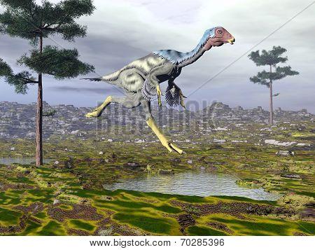 Caudipteryx dinoasaur - 3D render