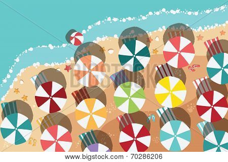 Summer beach in flat design, aerial view, sea side and colorful umbrellas, vector illustration
