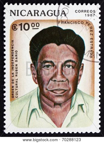 Postage Stamp Nicaragua 1987 Francisco Perez Estrada, Poet