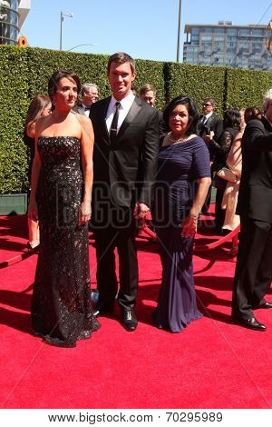 LOS ANGELES - AUG 16:  Jenni Pulos, Jeff Lewis, Zoila Chavez at the 2014 Creative Emmy Awards - Arrivals at Nokia Theater on August 16, 2014 in Los Angeles, CA