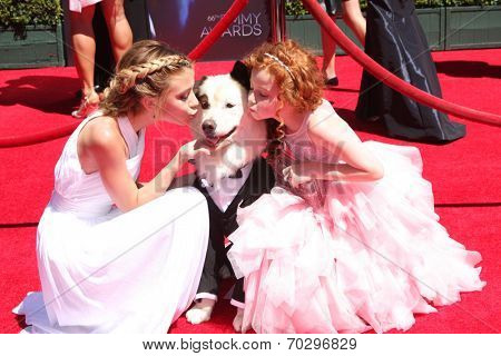 LOS ANGELES - AUG 16:  G Hannelius, Kuma, Francesca Capaldi at the 2014 Creative Emmy Awards - Arrivals at Nokia Theater on August 16, 2014 in Los Angeles, CA