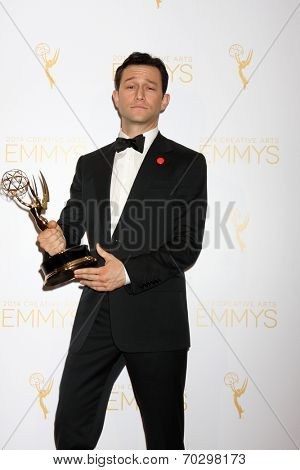 LOS ANGELES - AUG 16:  Joseph Gordon-Levitt at the 2014 Creative Emmy Awards - Press Room at Nokia Theater on August 16, 2014 in Los Angeles, CA