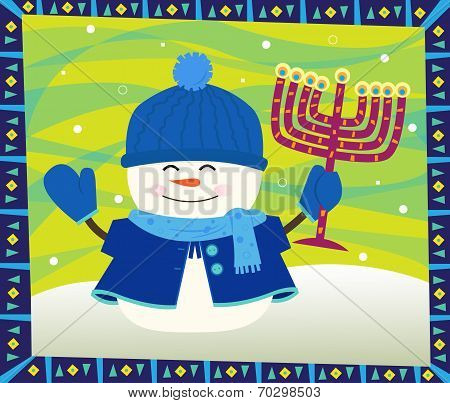 Snowman and Menorah