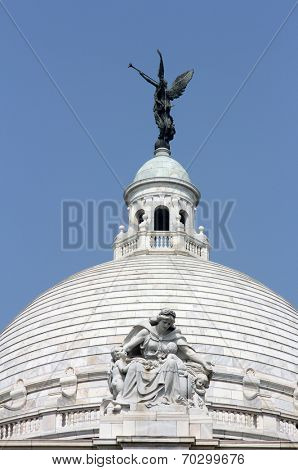 KOLKATA,INDIA - NOVEMBER 27: Angel of victory atop the dome of  Victoria Memorial in Kolkata, West Bengal, India on November 27, 2012.